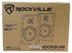 2 Rockville RockSlim Black Home Theater 5.25 240w Wall Mount Slim Speakers+Sub