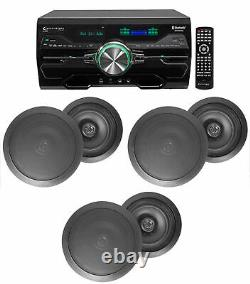 4000w Home Theater DVD Receiver withBluetooth/USB+(5) Black 8 Ceiling Speakers