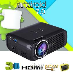 4K 3D Full HD Mini Projector LED Android 7.0 WiFi 1080P Home Theater HDMI VGA JJ