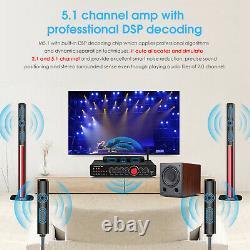 HiFi 5.1 Channel Digital Amplifier Bluetooth 5.0 Receiver Home Theater Amp LDAC