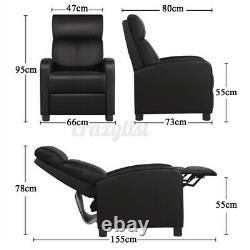Leather Armchair Home Theatre Single Sofa Recliner Couch Padded Armrest Chair UK