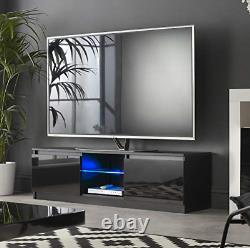 MMT RTV 1400 Black TV Stand Cabinet Unit With LED Lights for 42 49 55 65 inch 4k