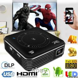 Mini DLP Android HD Projector 4K Wifi HDMI 1080P Home Office Cinema Theater USB