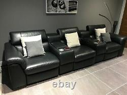 Natuzzi Black Leather Reclining 3 Seat Home Cinema/Theatre Seating. Now reduced