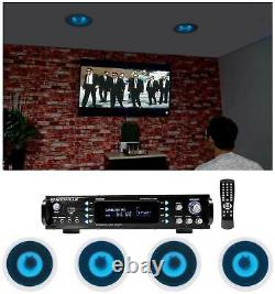 Rockville Home Theater Bluetooth Receiver+(4) In-Ceiling 6.5 Blue LED Speakers