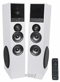 Rockville TM80W White Powered Home Theatre Tower Speakers 8 Sub/Bluetooth/USB