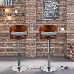 Set of 2 Vintage Breakfast Bar Stools High Seat Chair Home Theater Pub Black